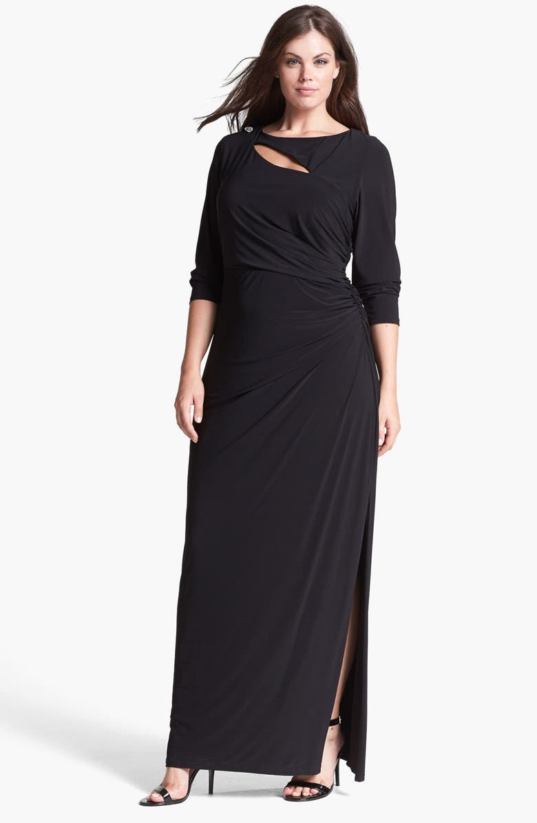 BETSY & ADAM Embellished Cutout Long Jersey Dress, Main, color, 001