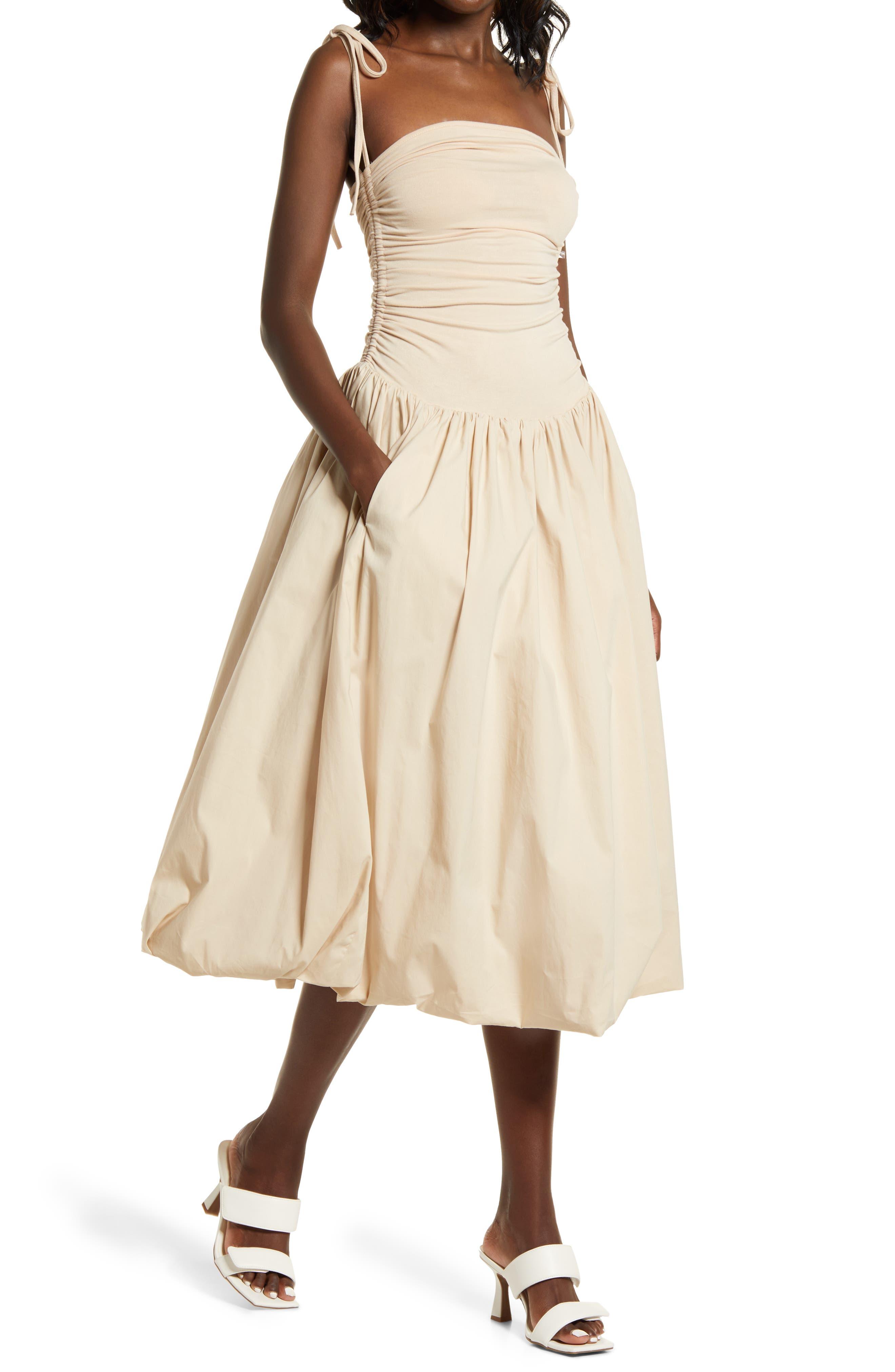 80s Dresses | Casual to Party Dresses Womens Amy Lynn Tie Shoulder Midi Dress Size Large - Beige $112.00 AT vintagedancer.com