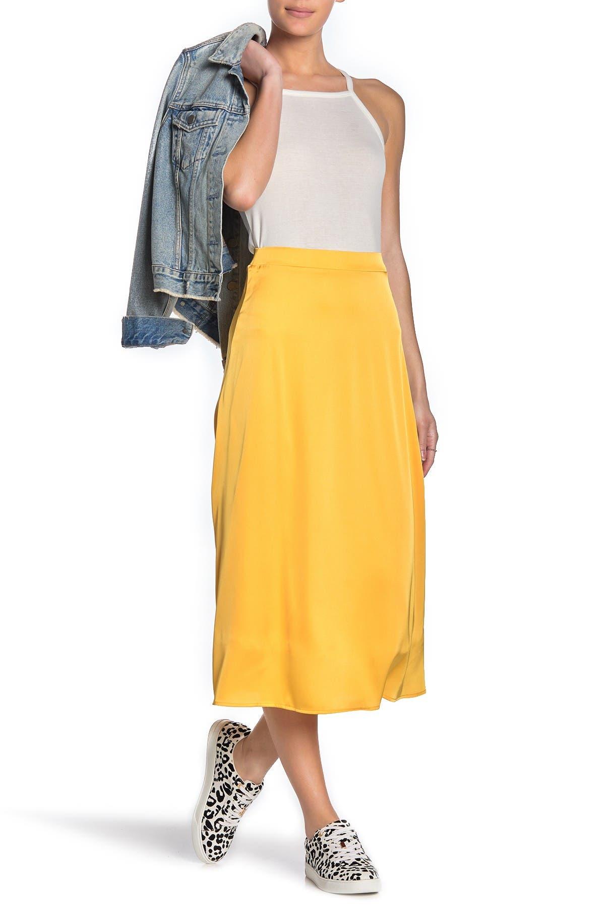 Image of Double Zero Satin Midi Skirt