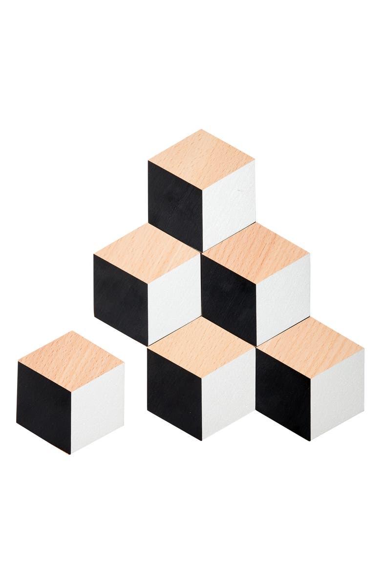 AREAWARE Table Tiles Concrete 6-Piece Trivet/Coaster Set, Main, color, BLACK/ SILVER METALLIC