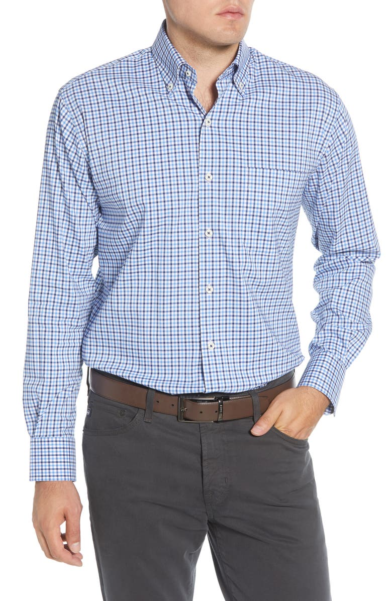 PETER MILLAR Park City Regular Fit Stretch Check Button-Down Sport Shirt, Main, color, NIGHT SKY