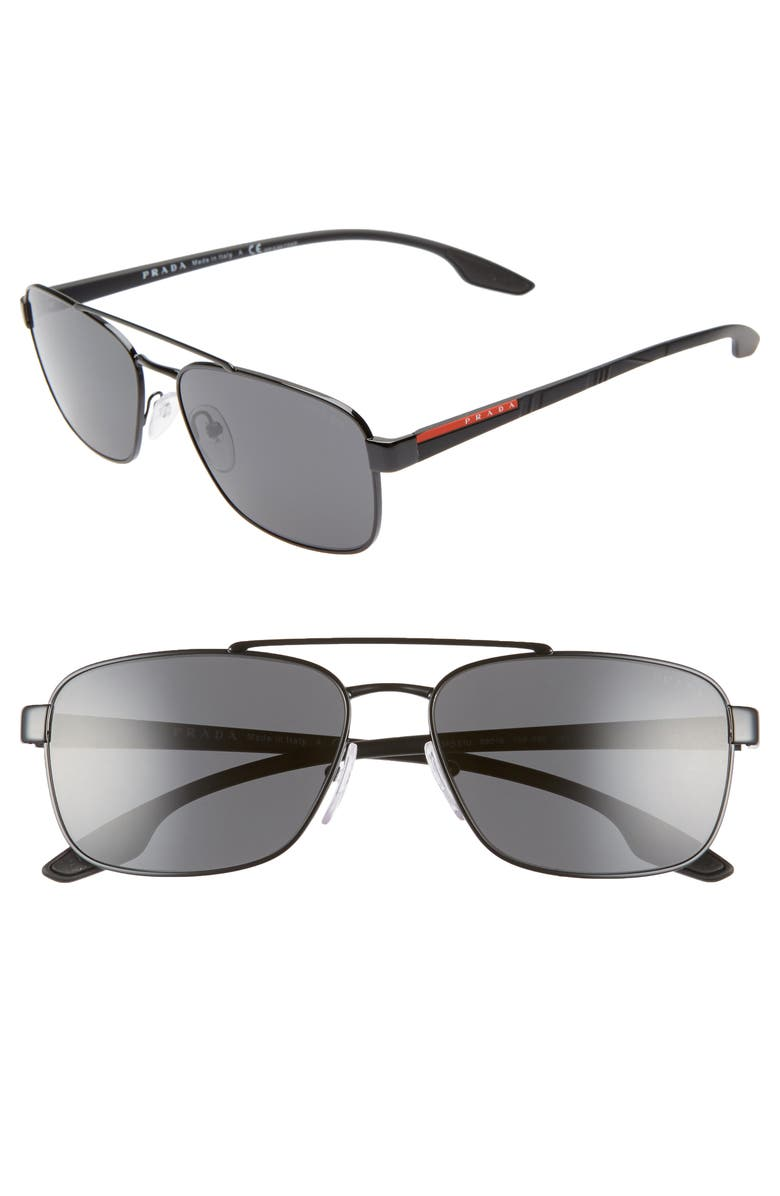 PRADA Linea Rossa 59mm Navigator Sunglasses, Main, color, 001