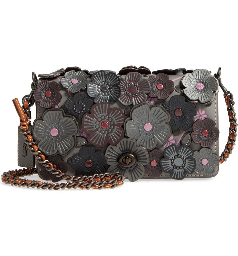 COACH 1941 'Dinky' Flower Appliqué Leather Crossbody Bag, Main, color, 020