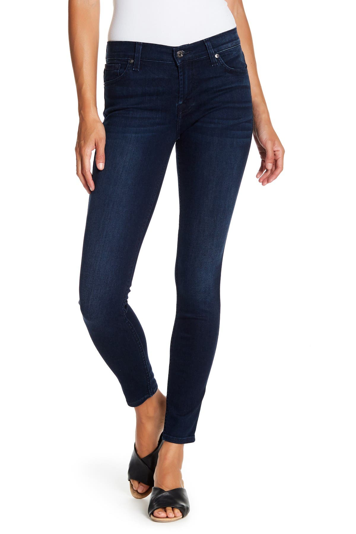 7 For All Mankind Womens Gwenevere Ankle Skinny Mid Rise Jean