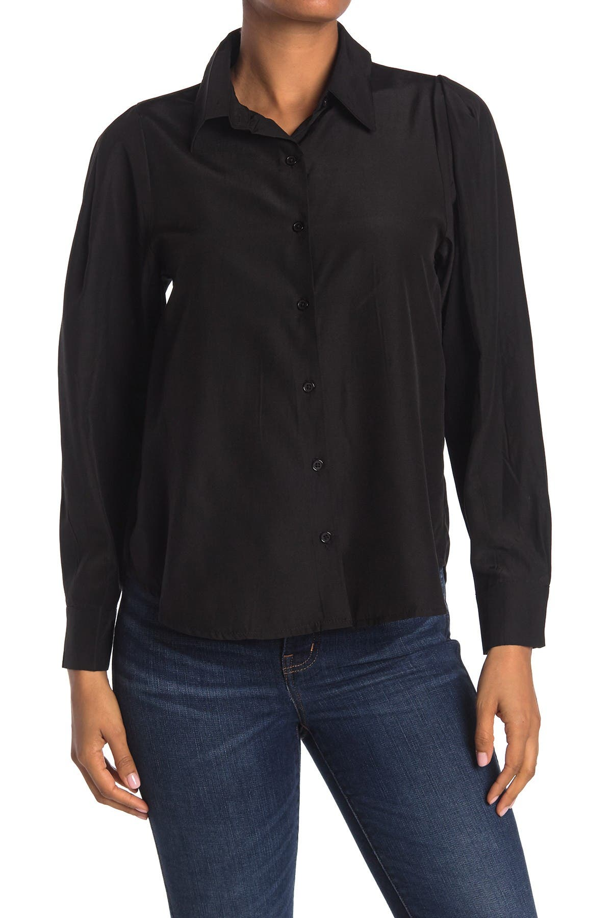 Image of Know One Cares Button Down Puff Long Sleeve Blouse