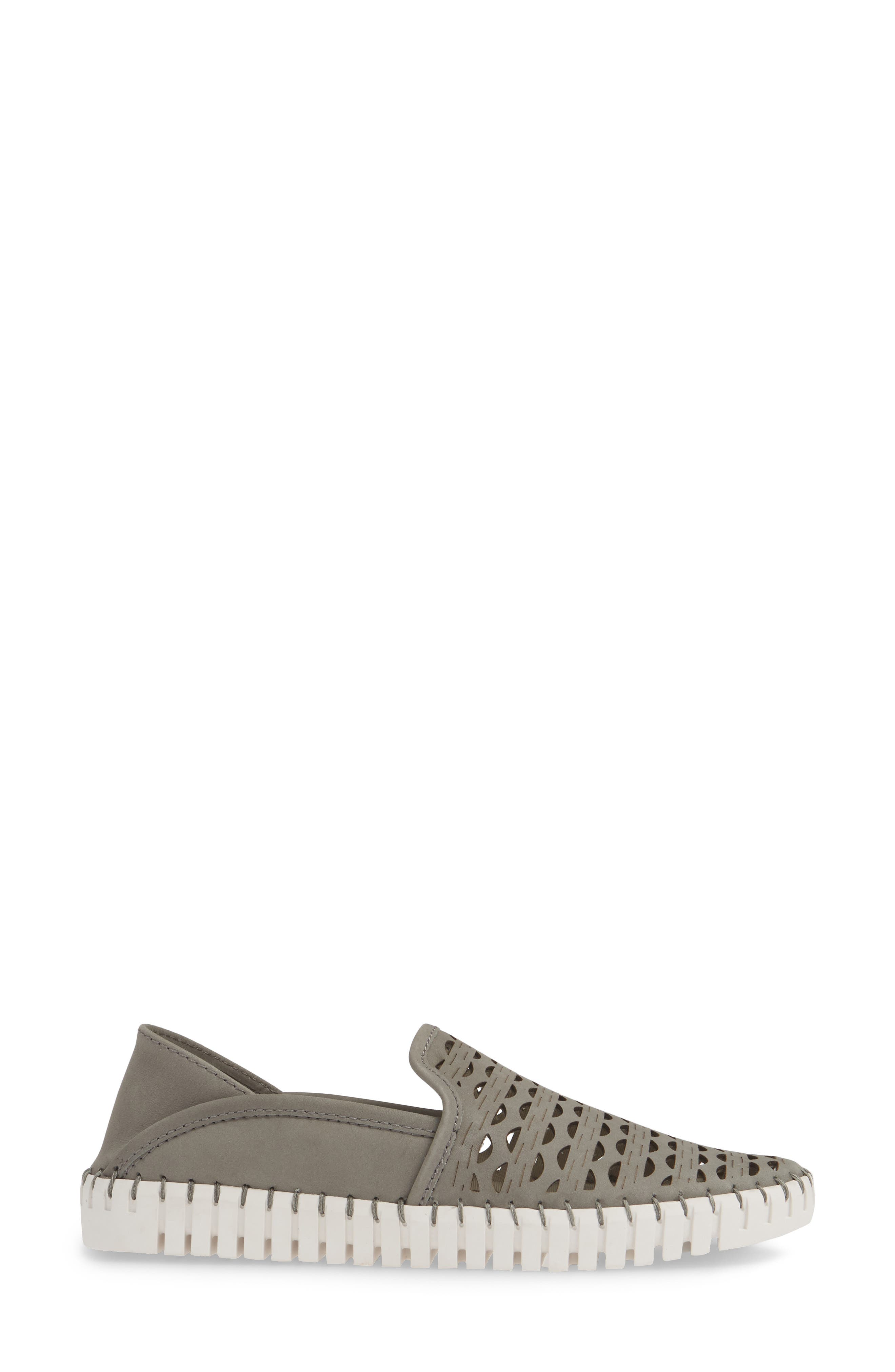 ,                             Janelle Perforated Slip-On,                             Alternate thumbnail 3, color,                             GREY NUBUCK LEATHER