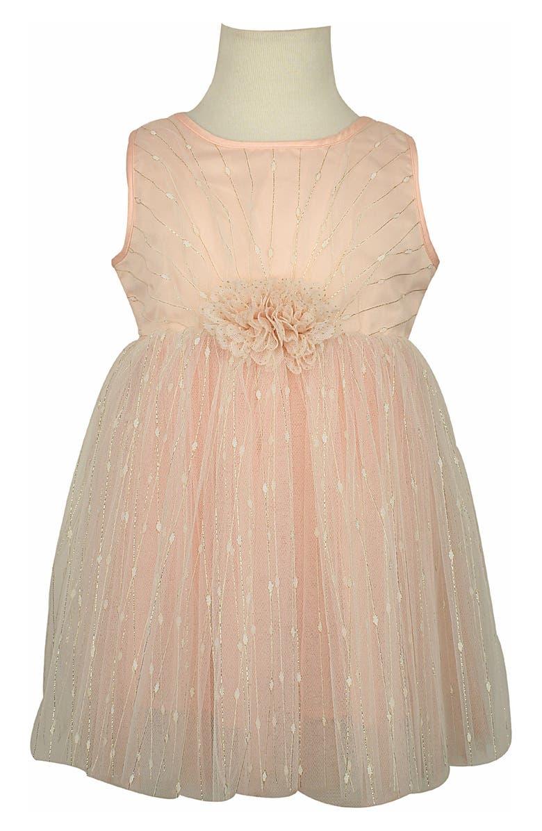 POPATU Metallic Stripe Tulle Party Dress, Main, color, DUSTY PINK