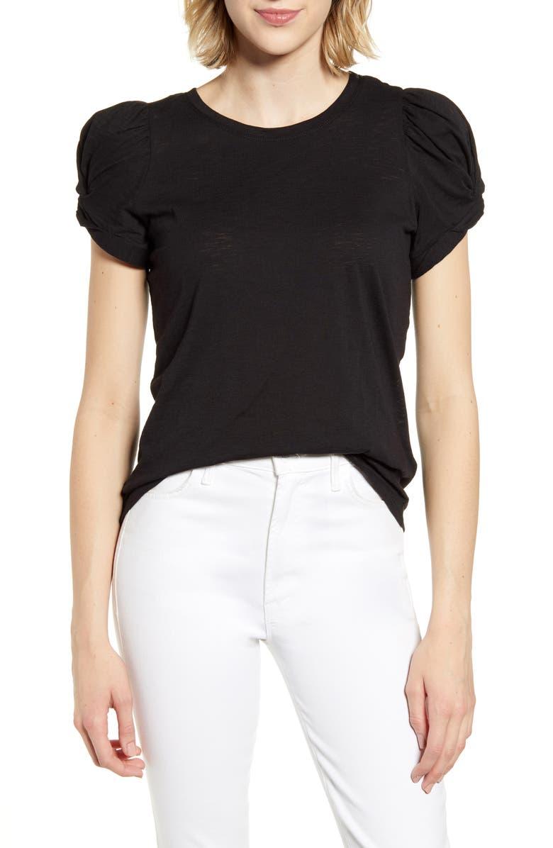 CECE Puff Sleeve Top, Main, color, RICH BLACK