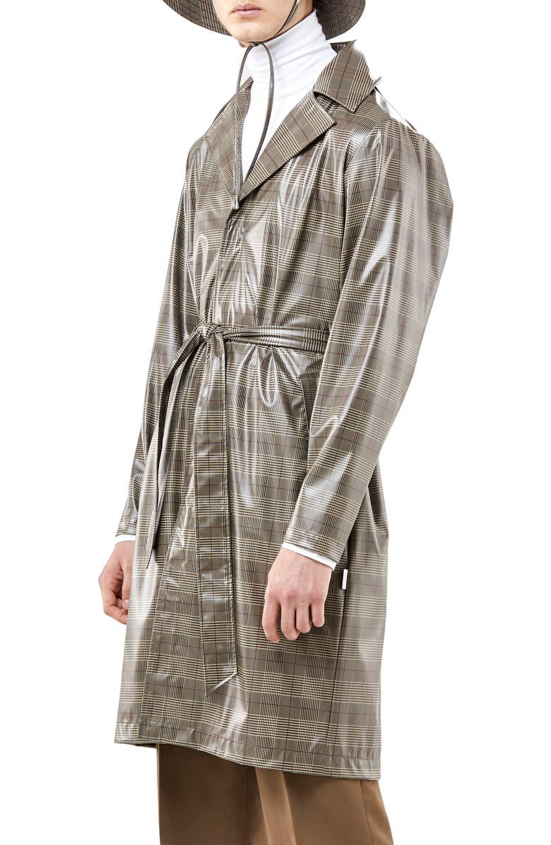 RAINS Waterproof Plaid Raincoat, Main, color, CHECK BEIGE