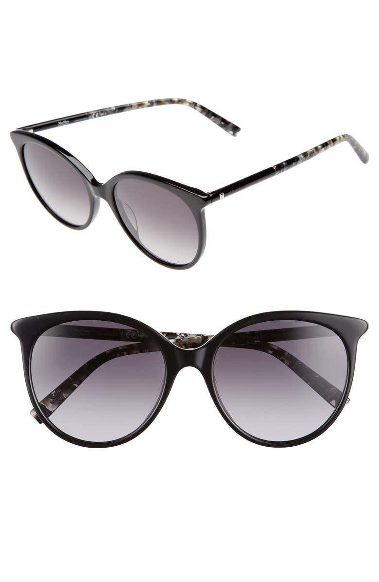 MAX MARA Tube 54mm Gradient Lens Cat Eye Sunglasses, Main, color, BLACK/ GREY
