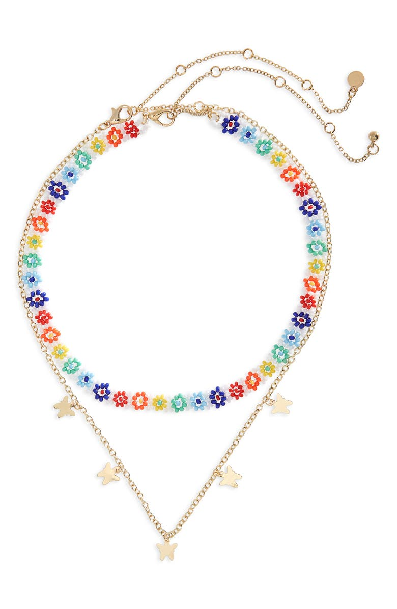 BP. Be Proud by BP Gender Inclusive Set of 2 Pride Necklaces, Main, color, GOLD- MULTI