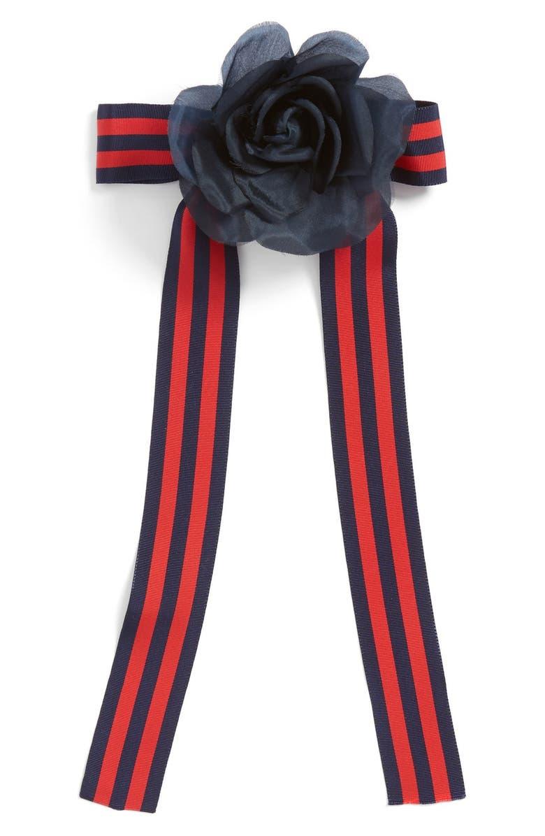 CARA Flower & Stripe Ribbon Bow Tie, Main, color, 400