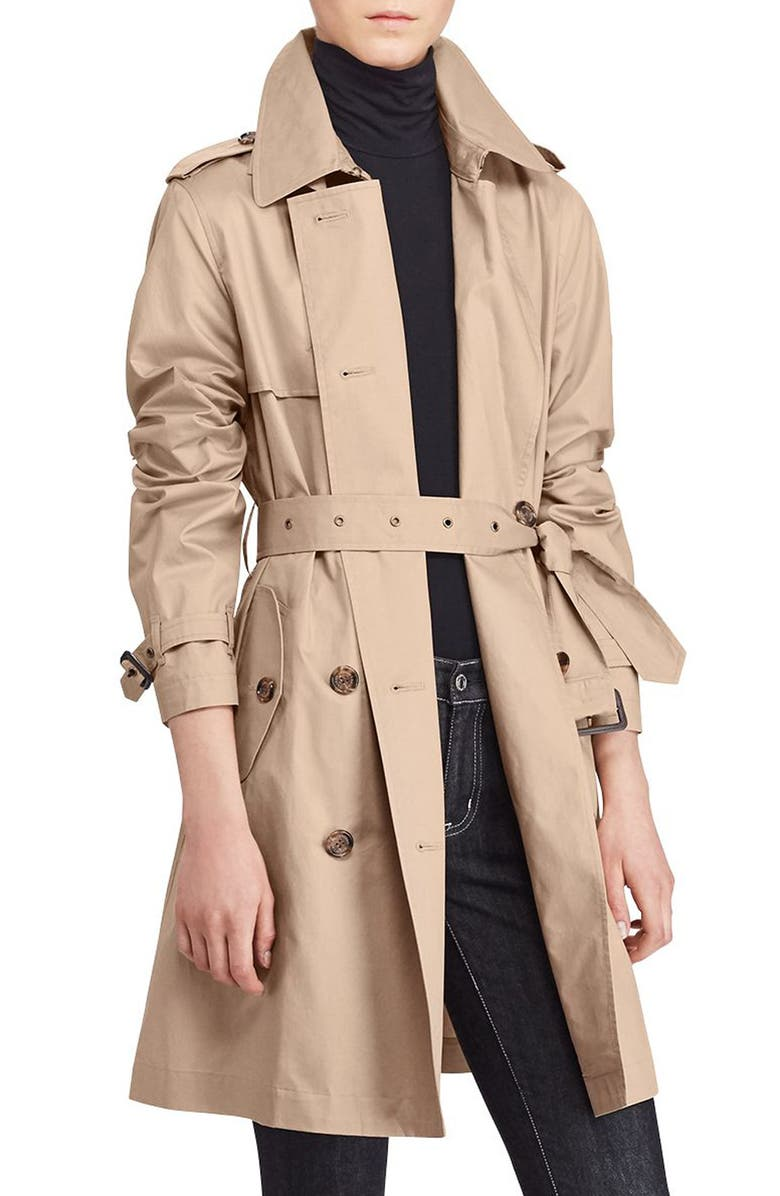 LAUREN RALPH LAUREN Double-Breasted Trench Coat, Main, color, 274