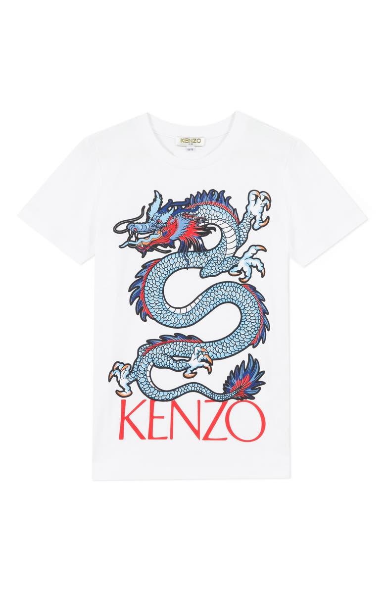 KENZO Dragon Graphic Tee, Main, color, WHITE
