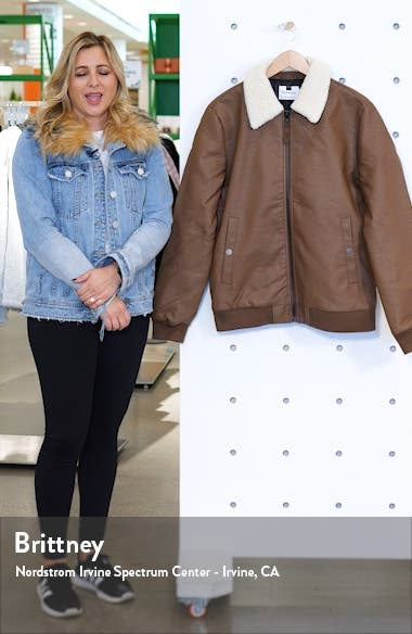 Faux Shearling Collar & Faux Leather Flight Jacket, sales video thumbnail