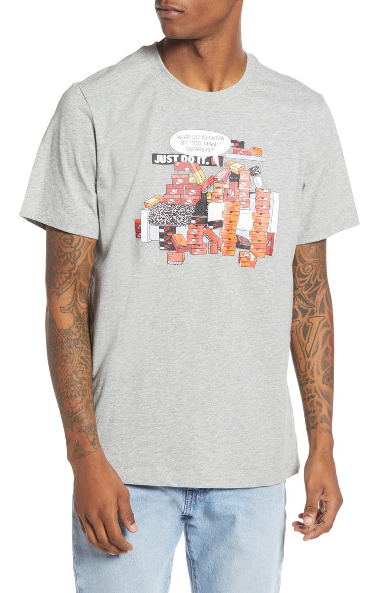 NIKE SNKR CLTR 7 Graphic Tee, Main, color, DARK GREY HEATHER