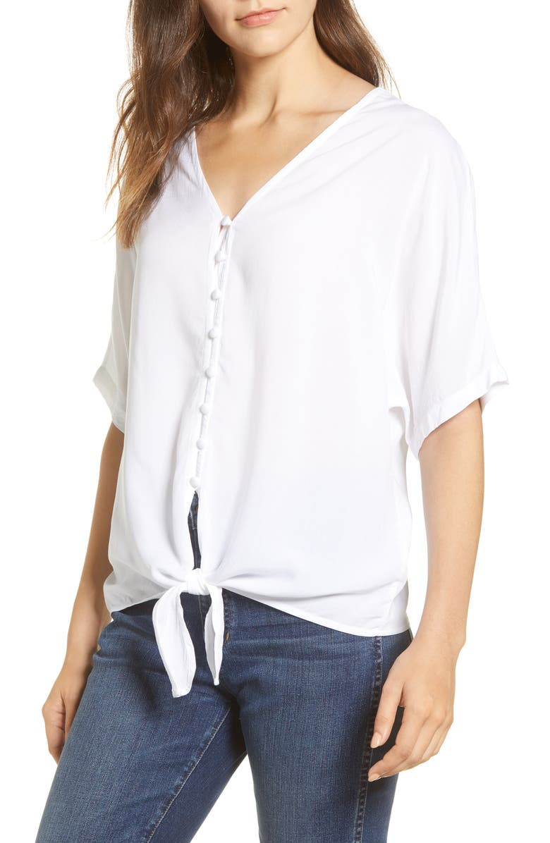 BEACHLUNCHLOUNGE Kelli Tie Front Rayon Top, Main, color, 100