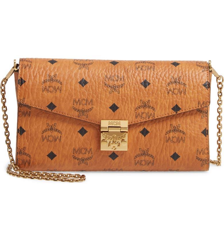 MCM Millie Monogrammed Leather Crossbody Bag, Main, color, COGNAC BROWN