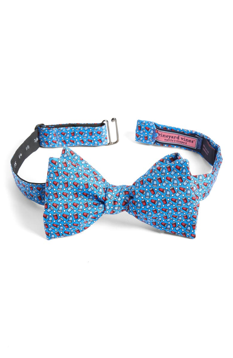 VINEYARD VINES USA Solo Cup Silk Bow Tie, Main, color, AVIATOR BLUE
