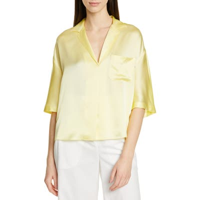 Vince Short Sleeve Silk Pajama Shirt, Yellow
