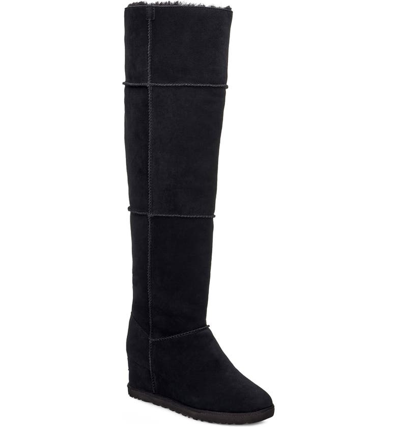 UGG<SUP>®</SUP> Classic Femme Over the Knee Wedge Boot, Main, color, BLACK SUEDE
