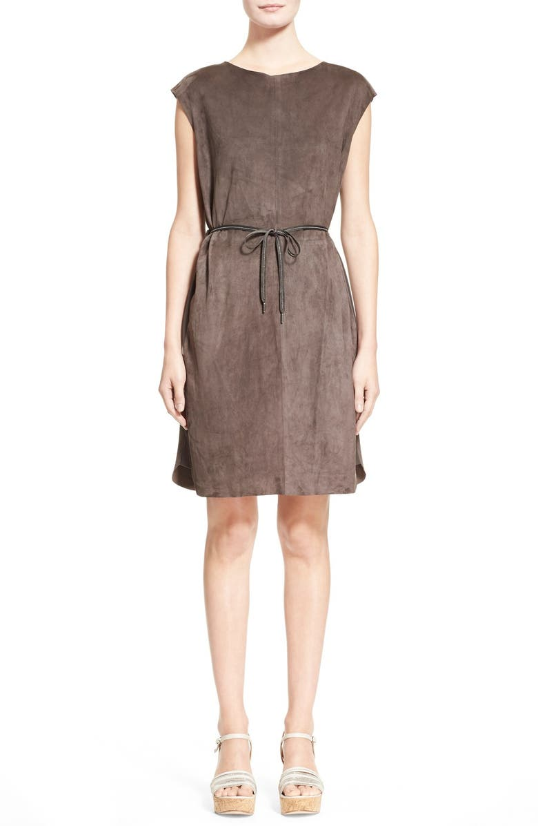 FABIANA FILIPPI Crepe Trim Suede Dress, Main, color, 021