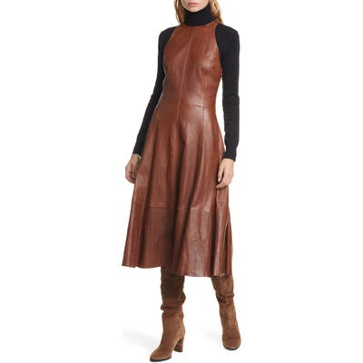Polo Ralph Lauren Leather Sleeveless Fit & Flare Dress, Brown