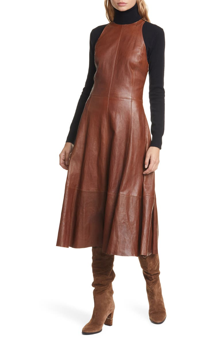 Leather Sleeveless Fit & Flare Dress by Polo Ralph Lauren