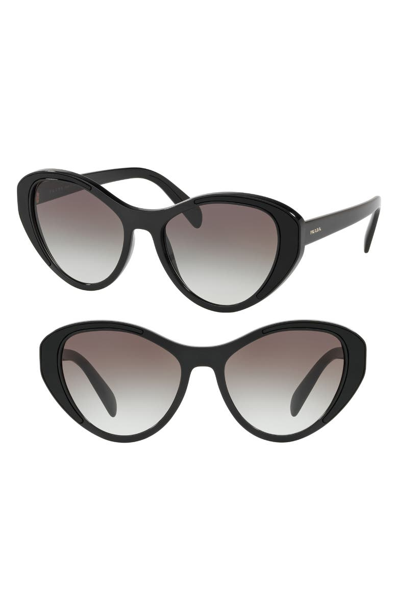 PRADA Tapestry Evolution 55mm Cat Eye Sunglasses, Main, color, 001