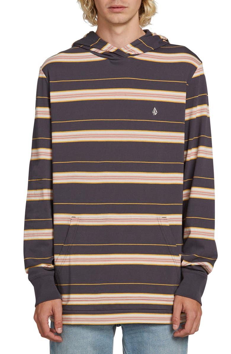 VOLCOM Shaneo Stripe Longline Hoodie, Main, color, ASPHALT BLACK