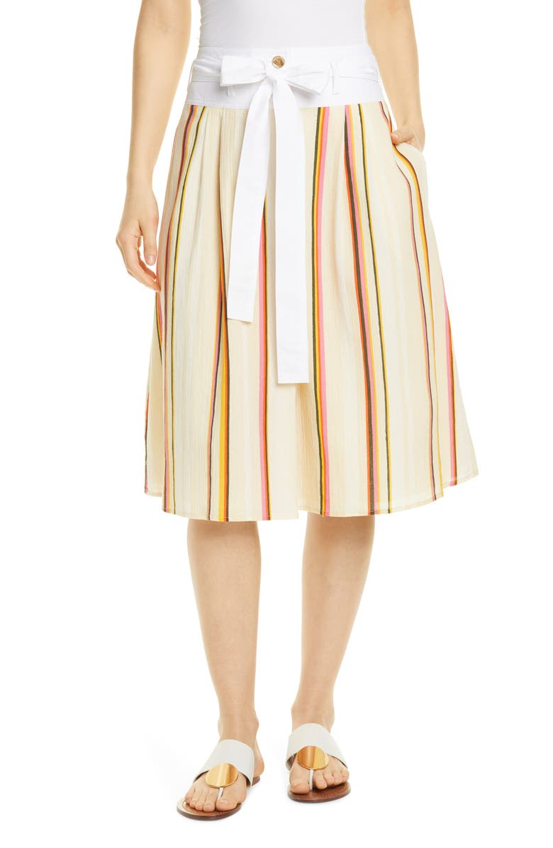 TORY BURCH Stripe Tie Waist Cotton Skirt, Main, color, CANYON STRIPE