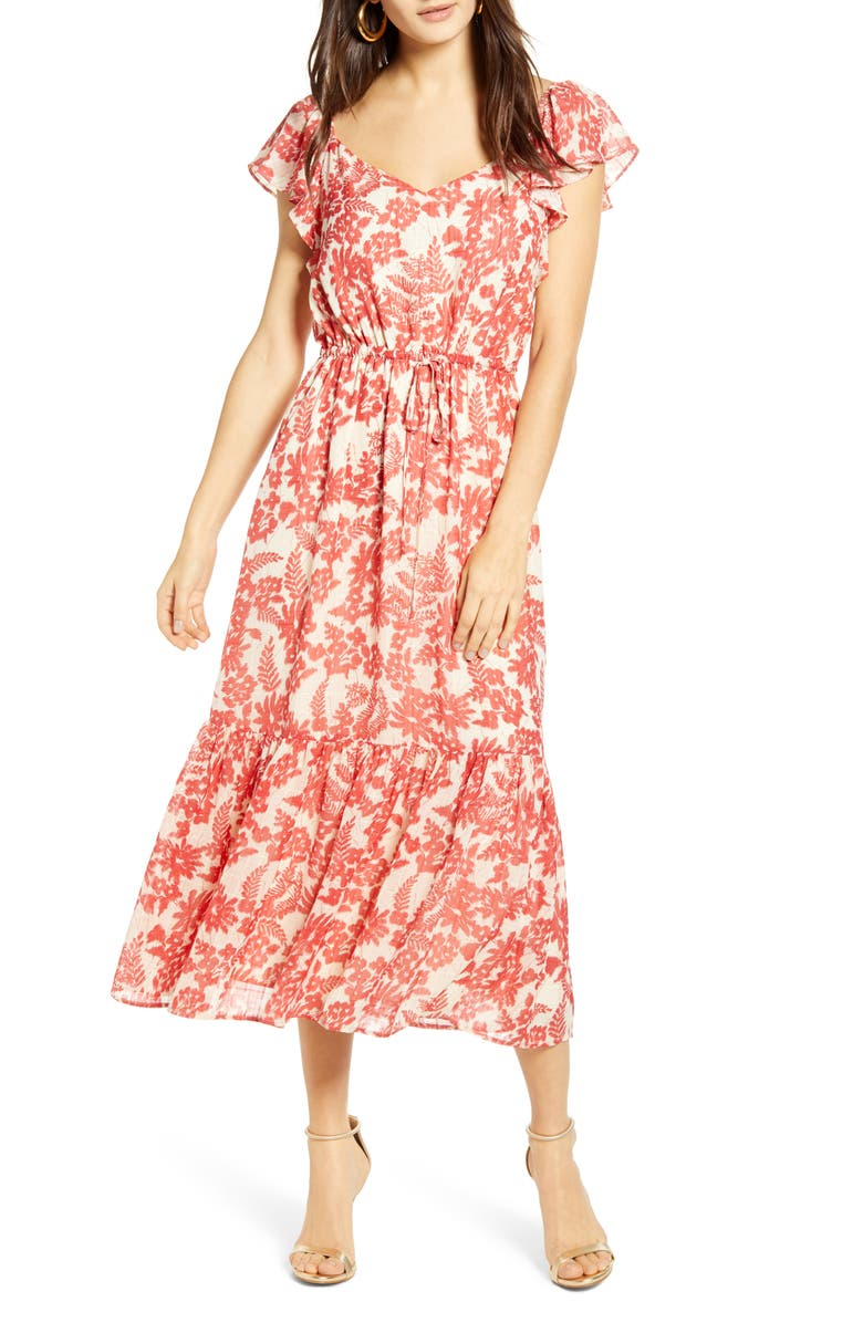 ALL IN FAVOR Red Floral Tie Waist Maxi Dress, Main, color, 600