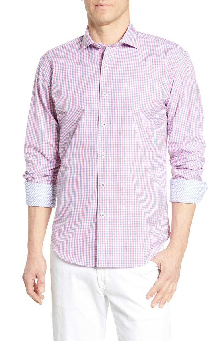 BUGATCHI Shaped Fit Gingham Cotton Shirt, Main, color, PINK