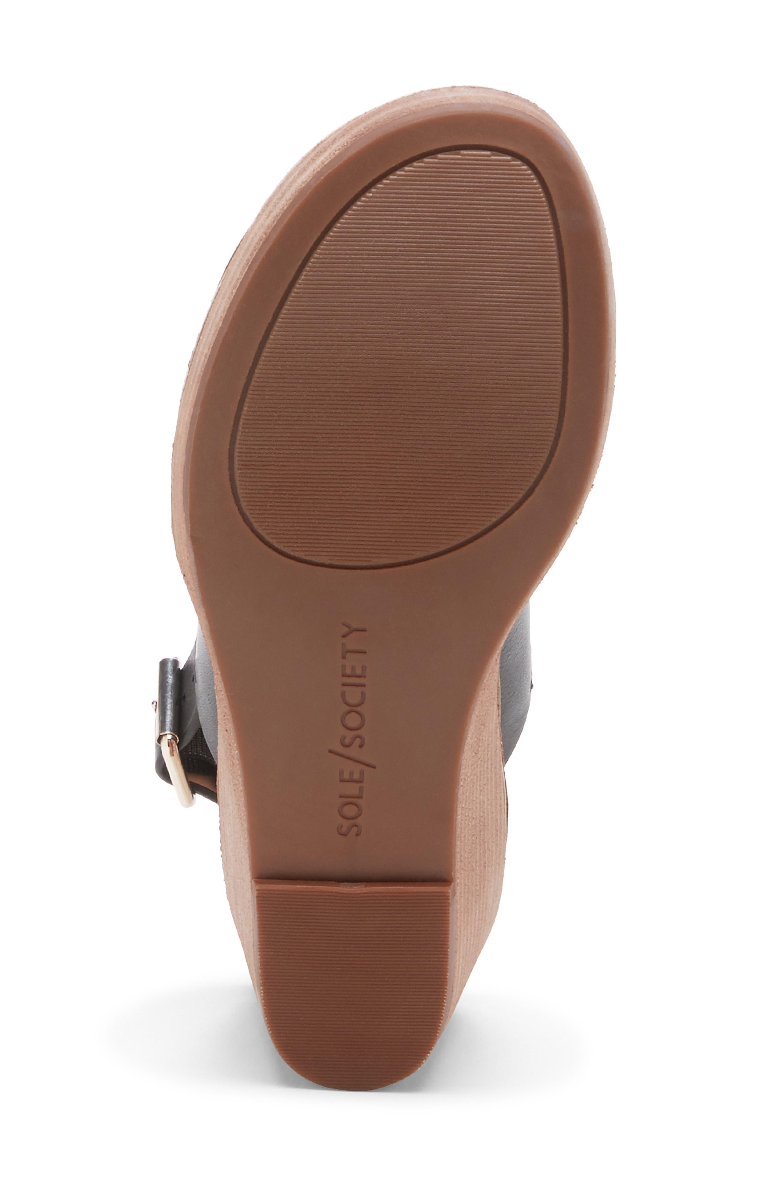 ,                             Pavlina Platform Wedge Sandal,                             Alternate thumbnail 6, color,                             BLACK LEATHER