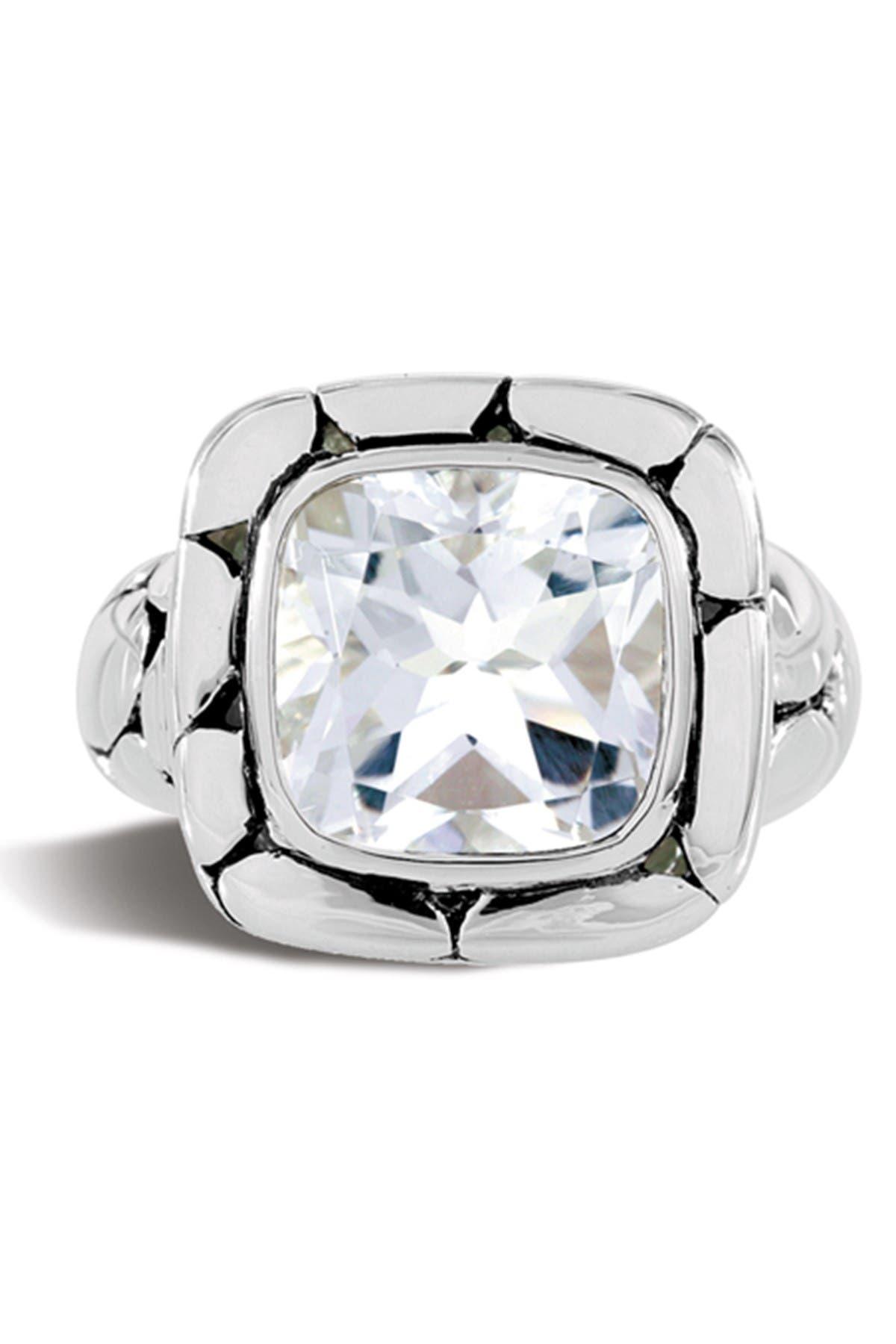 Image of JOHN HARDY Sterling Silver Batu Kali White Topaz Ring - Size 7