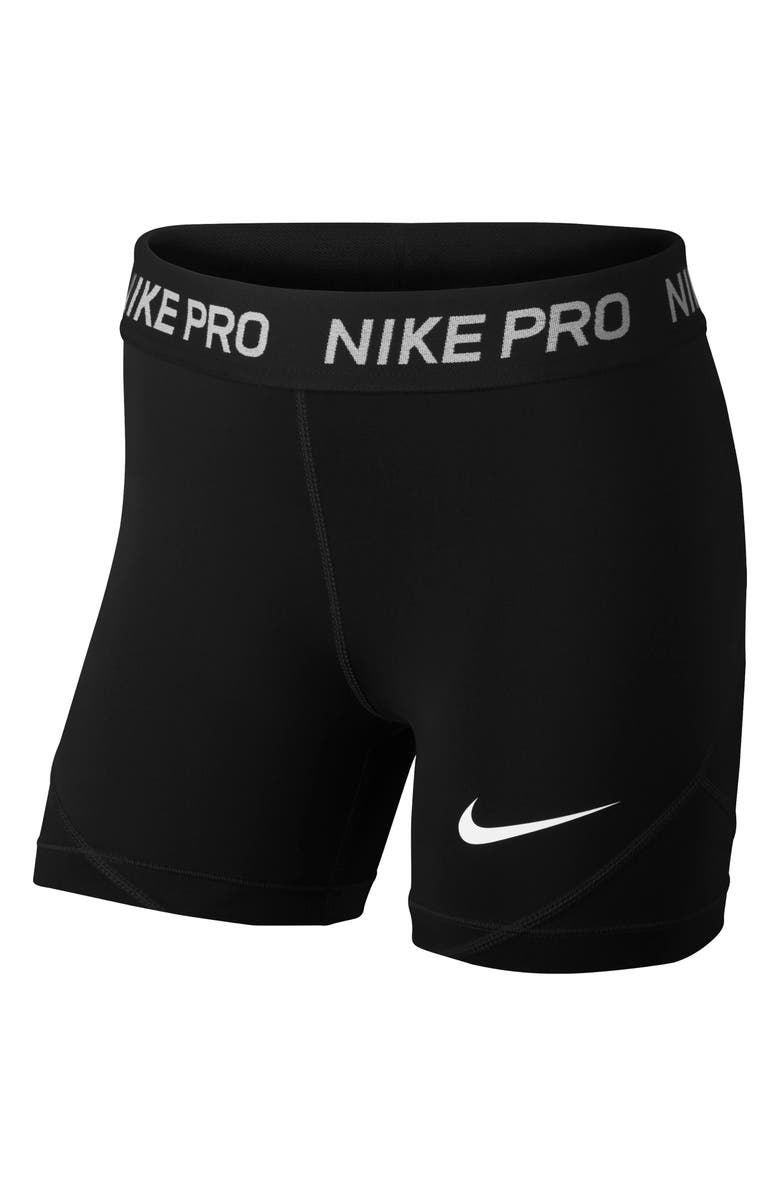 NIKE Pro Dri-FIT Boyshorts, Main, color, BLACK/ BLACK/ BLACK/ WHITE