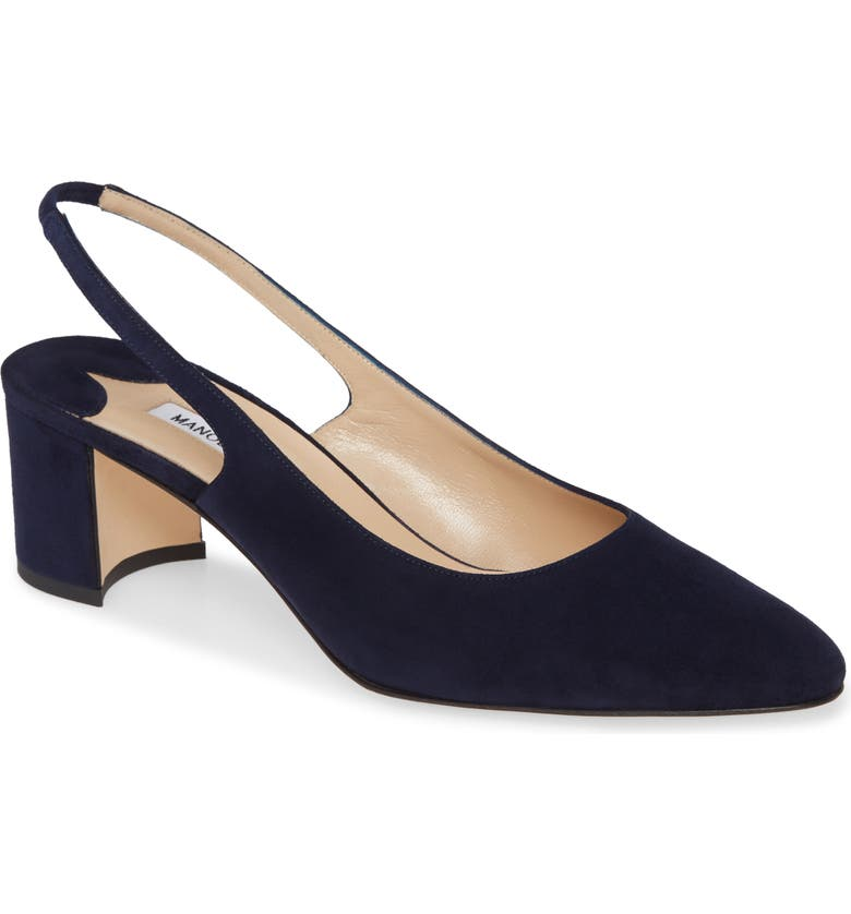 MANOLO BLAHNIK Allurasa Slingback Pump, Main, color, NAVY