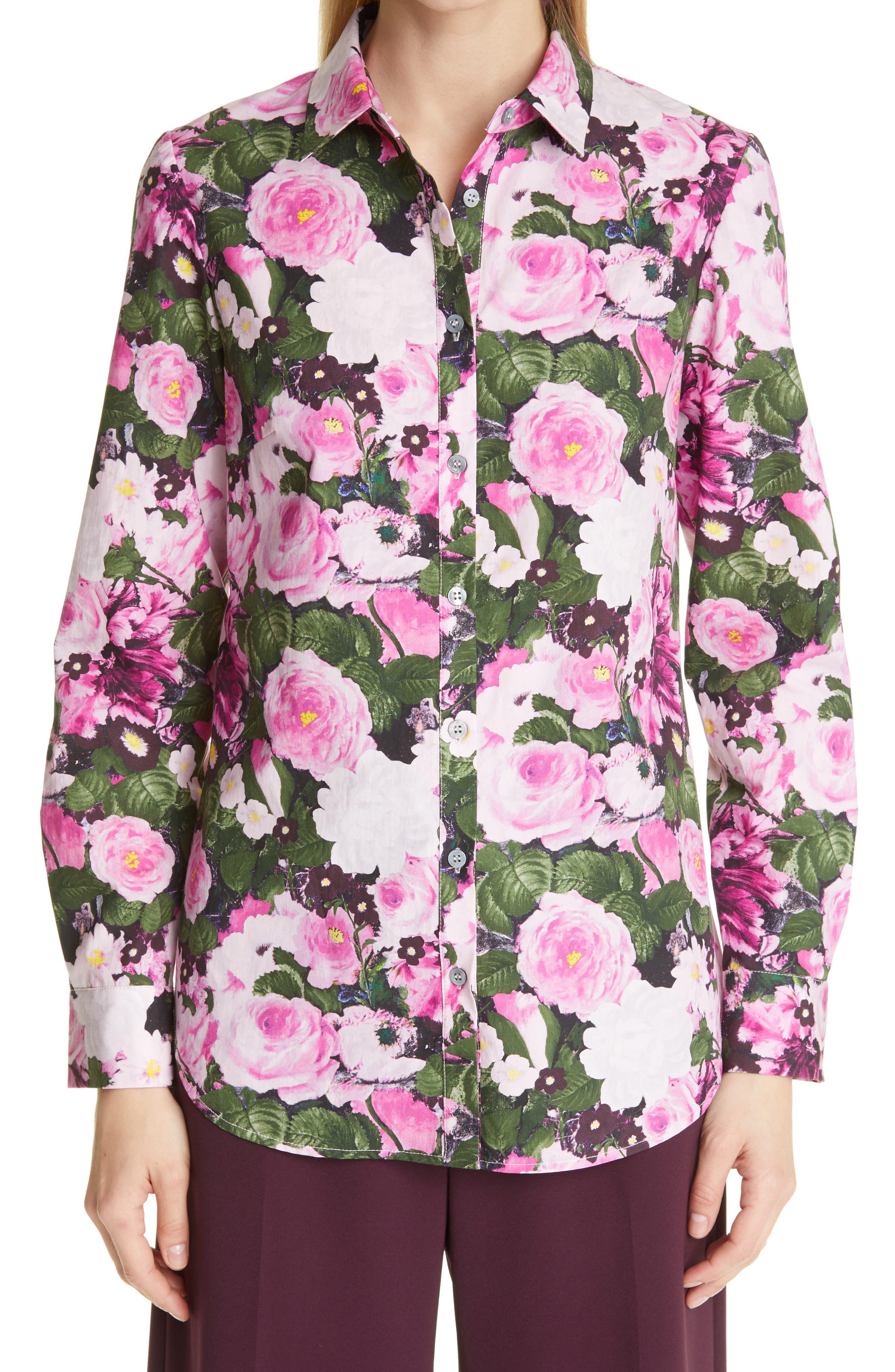 Floral Button-Up Cotton Blouse