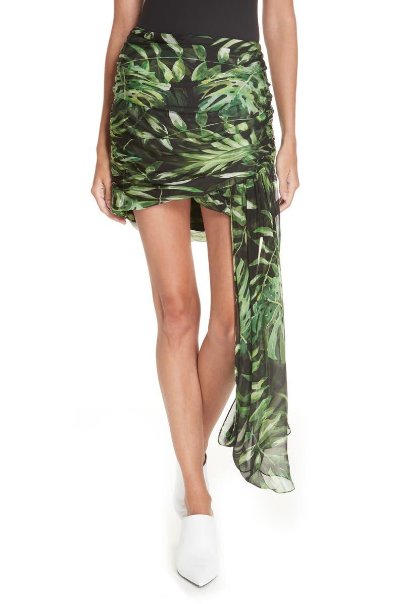 CAROLINE CONSTAS Kira Leaf Print Silk Miniskirt, Main, color, 001