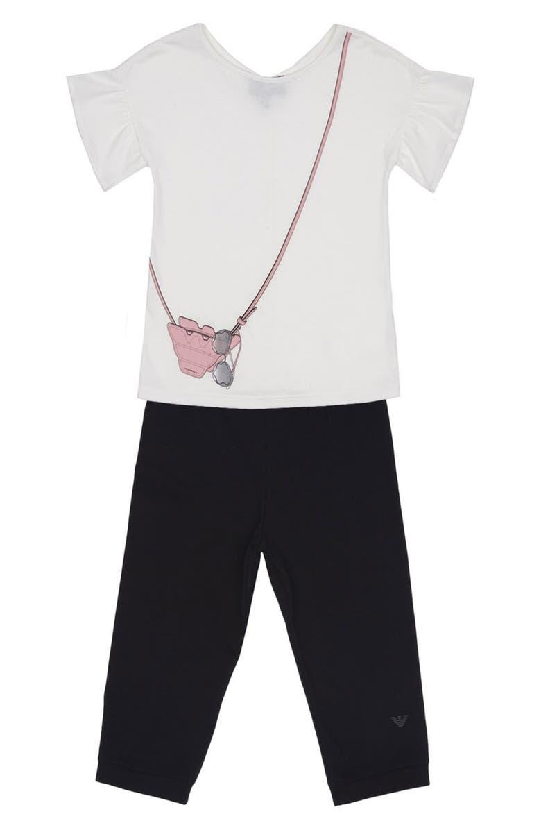 ARMANI JUNIOR Handbag Graphic Tee & Jogger Pants Set, Main, color, 100