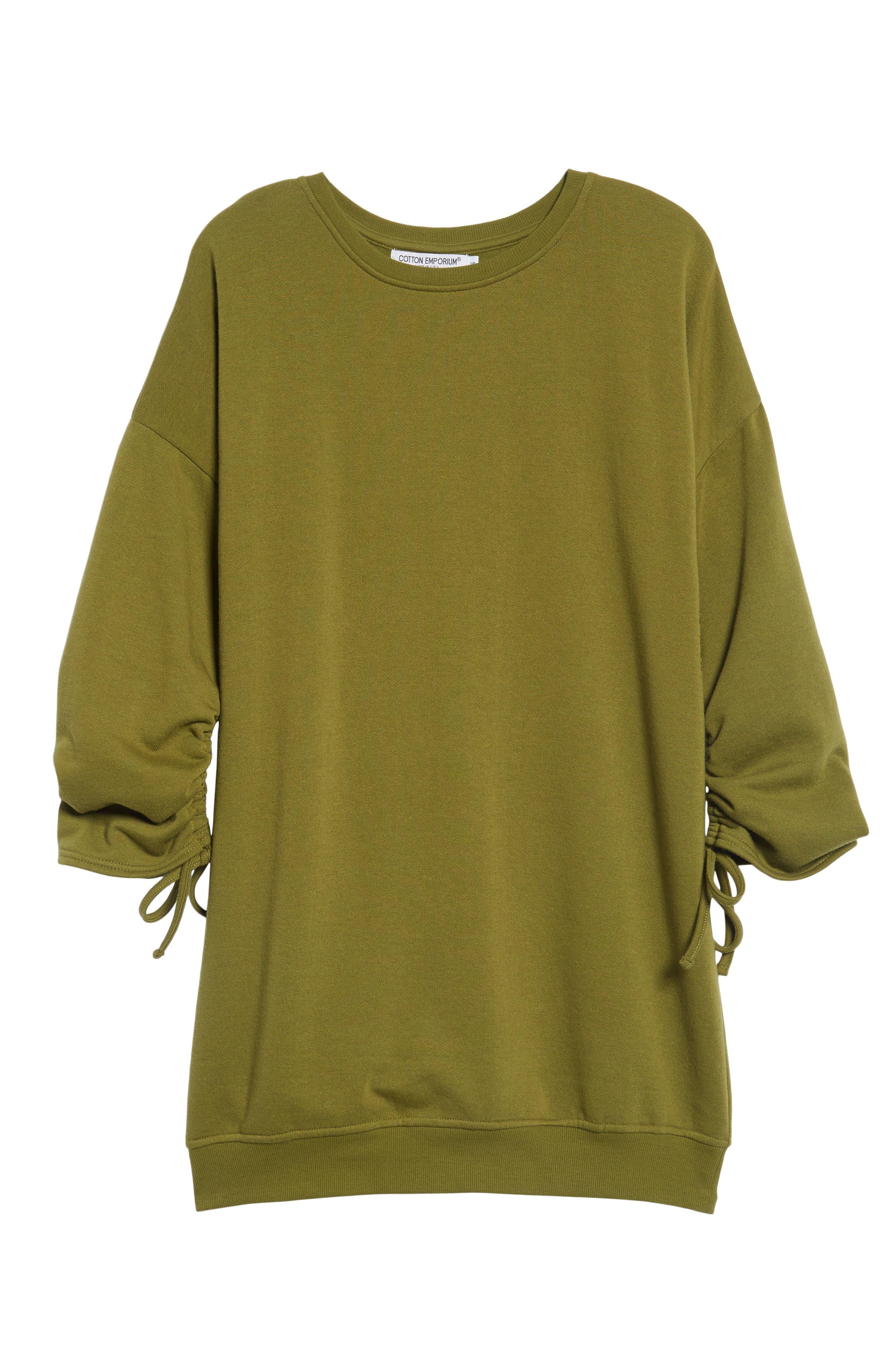 ,                             Ruched Sleeve Sweatshirt Dress,                             Alternate thumbnail 12, color,                             300