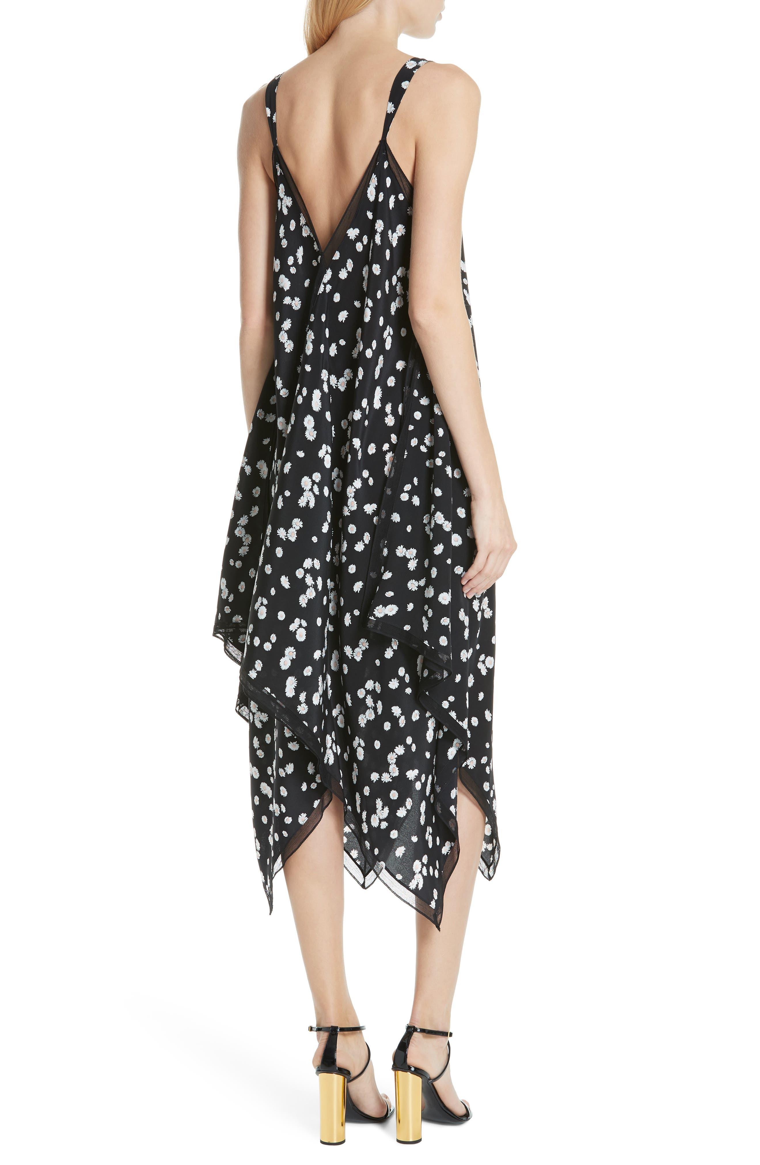 ,                             Spring Daisy Handkerchief Hem Dress,                             Alternate thumbnail 2, color,                             BLACK MULTI