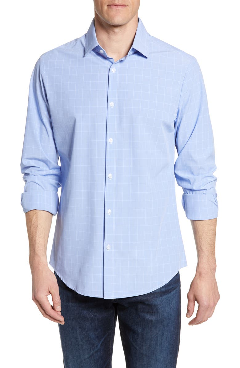 MIZZEN+MAIN Alston Trim Fit Check Performance Shirt, Main, color, BLUE