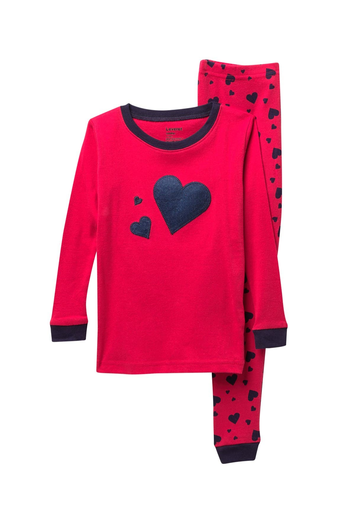 Image of Leveret Navy Hearts 2-Piece Pajama Set