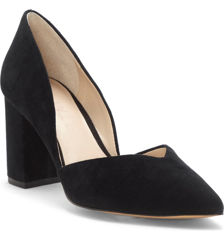 1.STATE Selim Pointed Toe Pump, Main, color, BLACK SUEDE