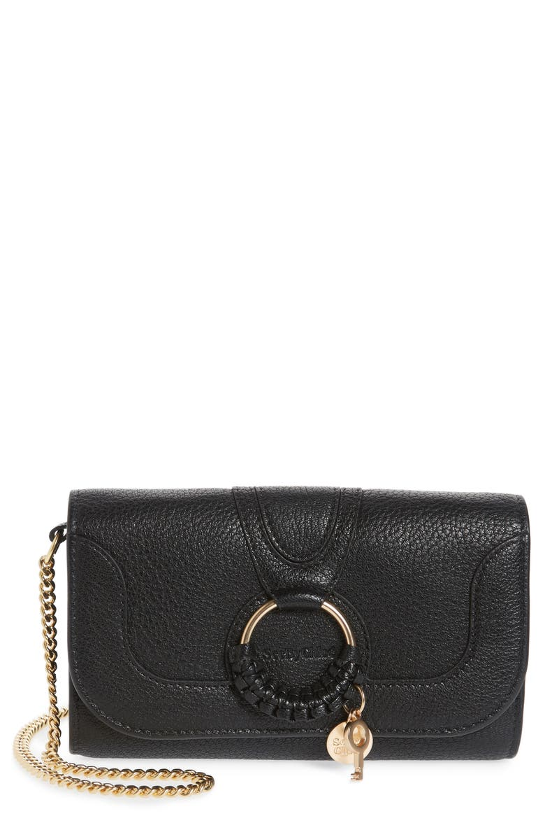 SEE BY CHLOÉ Hana Large Leather Wallet on a Chain, Main, color, 001
