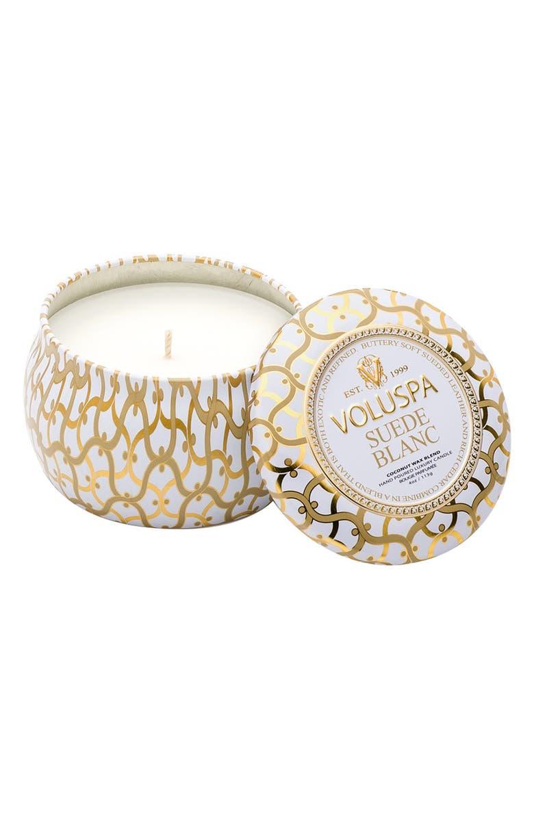VOLUSPA Maison Blanc Petite Decorative Tin Candle, Main, color, SUEDE