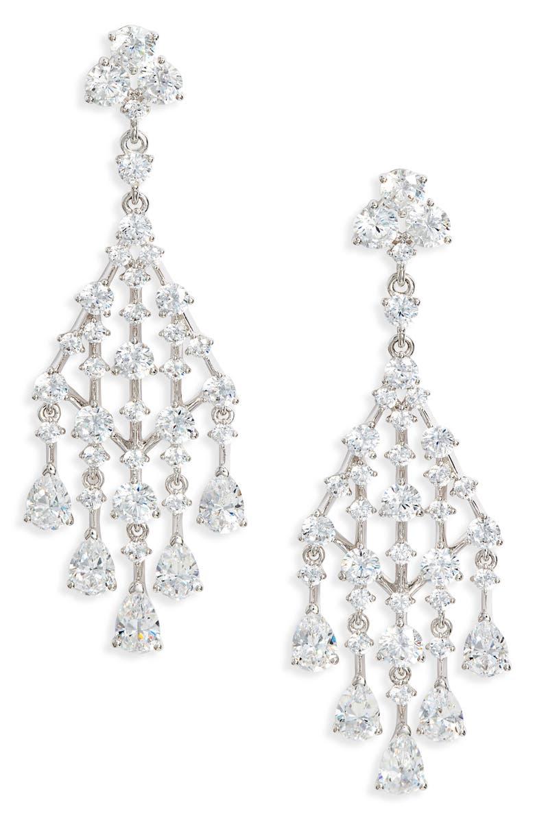NADRI Evie Chandelier Earrings, Main, color, RHODIUM