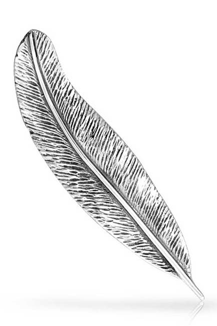 Image of Bling Jewelry Sterling Silver Feather Leaf Pin Brooch