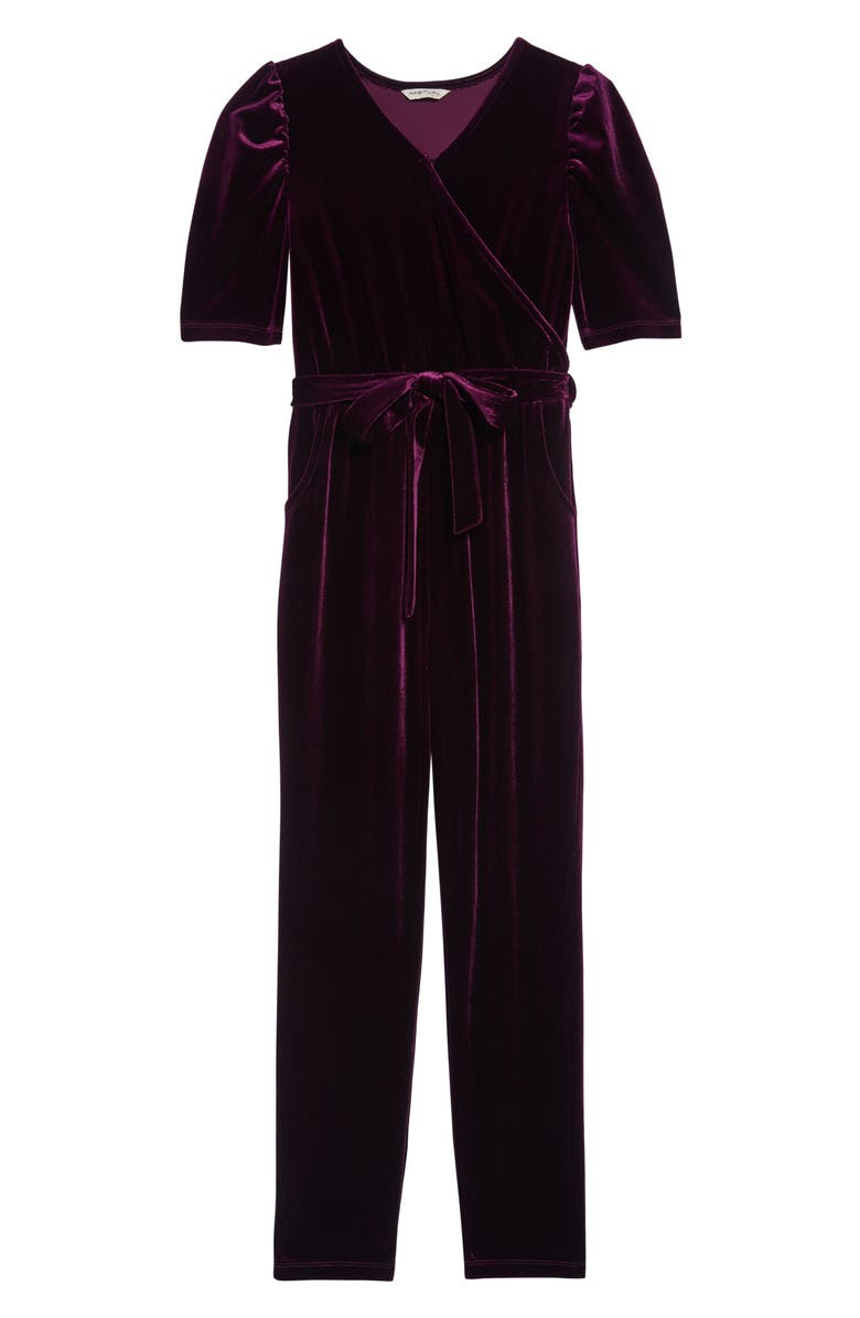 HABITUAL Briella Velour Wrap Jumpsuit, Main, color, PURPLE